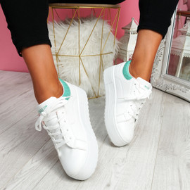 Nomy White Green Croc Trainers