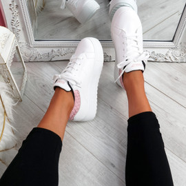 Nomy White Pink Croc Trainers