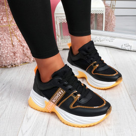 Ellory Black Orange Chunky Trainers