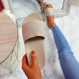 Mannya Beige Slip On Sandals