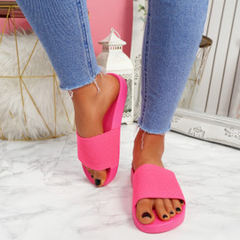 Mannya Fluorescent Fuchsia Slip On Sandals