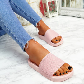Mannya Pink Slip On Sandals