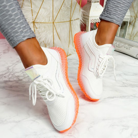 Gello White Orange Trainers
