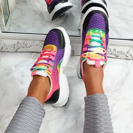 Potto Purple Chunky Rainbow Trainers