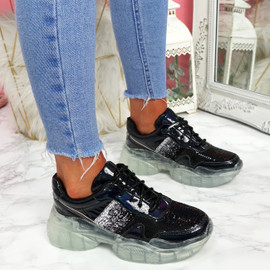 Lenny Black Chunky Trainers