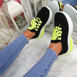 Zya Black Green Chunky Trainers