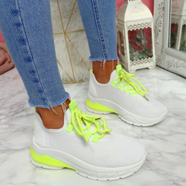 Zya White Green Chunky Trainers