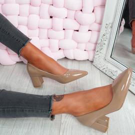 Nya Khaki Block Heel Pumps