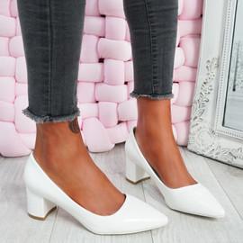 Nya White Block Heel Pumps