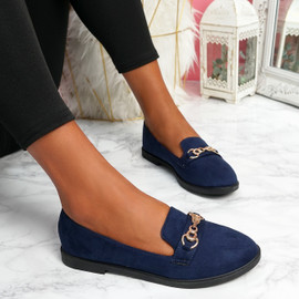 Lonna Dark Blue Chain Ballerinas