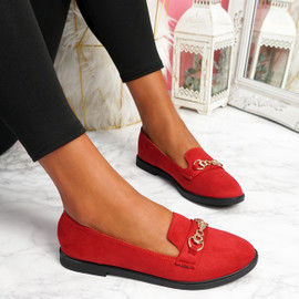 Lonna Red Chain Ballerinas