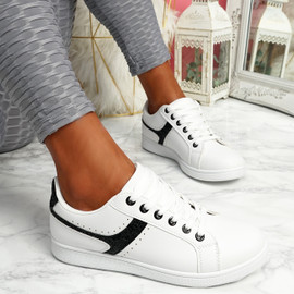 Lezma White Black Lace Up Trainers