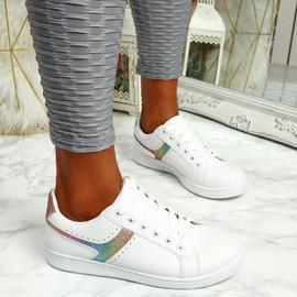 Lezma White Colour Lace Up Trainers