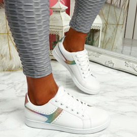 Lezma White Colour Lace Up Trainers