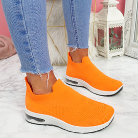 Neya Orange Slip On Trainers