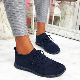 Oya Navy Lace Up Knit Trainers