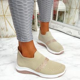 Goppa Beige Studded Sneakers