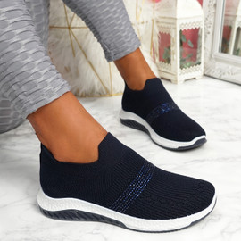 Goppa Dark Blue Studded Sneakers