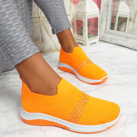 Goppa Orange Studded Sneakers