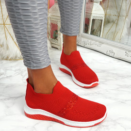 Goppa Red Studded Sneakers