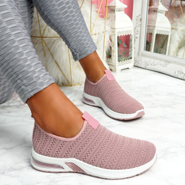 Essy Pink Slip On Knit Trainers