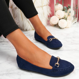 Mero Dark Blue Flat Ballerinas