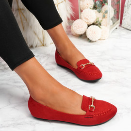 Mero Red Flat Ballerinas
