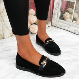 Sise Black Studded Ballerinas