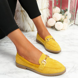 Sise Yellow Studded Ballerinas