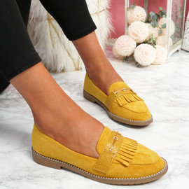 Venny Yellow Fringe Ballerinas