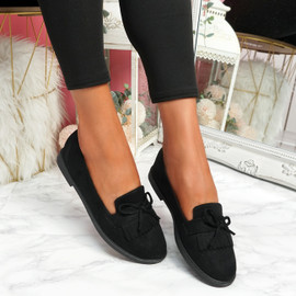 Kolly Black Bow Fringe Ballerinas