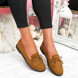 Kolly Camel Bow Fringe Ballerinas
