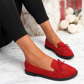 Kolly Red Bow Fringe Ballerinas