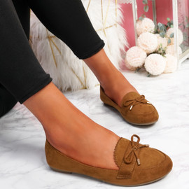 Invy Camel Slip On Bow Ballerinas