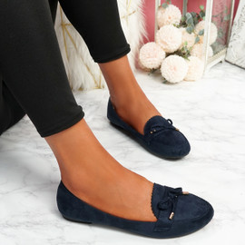 Invy Dark Blue Slip On Bow Ballerinas