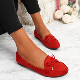 Invy Red Slip On Bow Ballerinas