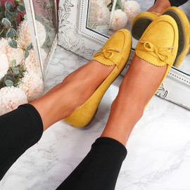 Invy Yellow Slip On Bow Ballerinas