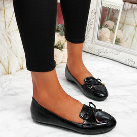 Invy Black Pu Slip On Bow Ballerinas