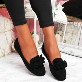 Vinny Black Bow Flat Ballerinas