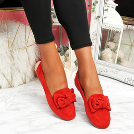 Vinny Red Bow Flat Ballerinas