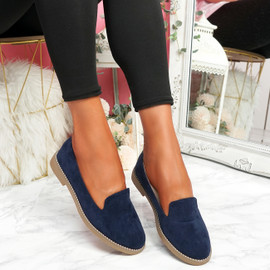 Grety Dark Blue Studded Ballerinas