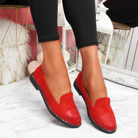 Kyja Red Snake Skin Toe Ballerinas