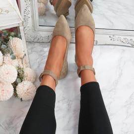 Offy Khaki Ankle Strap Ballerinas