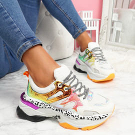 Reyna White Chunky Sneakers
