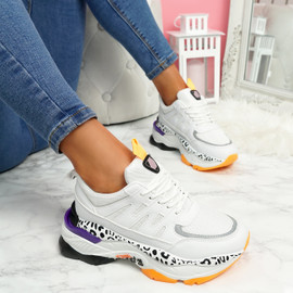 Fossy White Orange Chunky Trainers