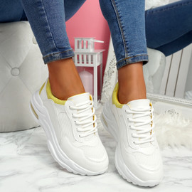 Viffa White Yellow Lace Up Chunky Trainers