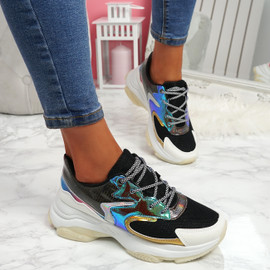 Ogllo Black White Chunky Sole Sneakers