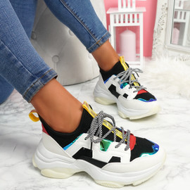 Nirey Black White Chunky Trainers