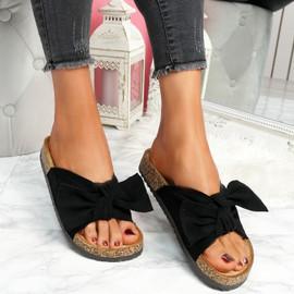 Lela Black Bow Flat Sandals