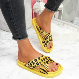 Piva Yellow Flat Sandals